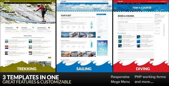 Volare - Trekking, Sailing, Diving WordPress Theme - Business Corporate
