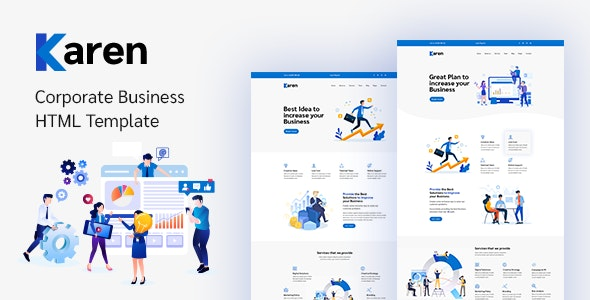 Karen – Corporate Business Bootstrap 4 Template - Corporate Site Templates