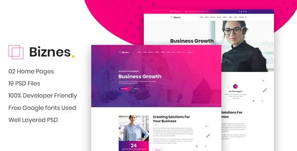 Biznes - Business Website PSD Template - Business Corporate