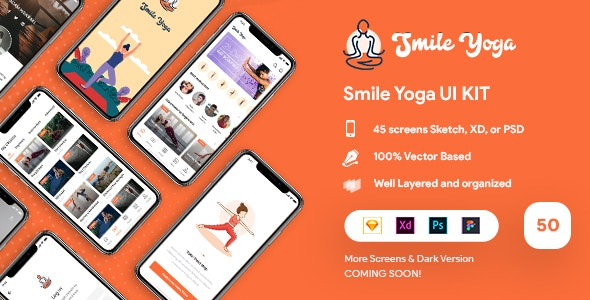 Smile - Yoga UI Kit - Sketch Templates