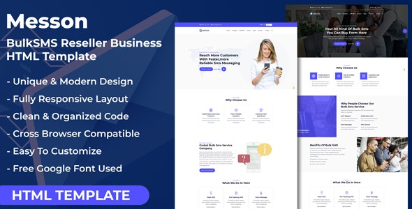 Messon - Bulk SMS Reseller Business HTML Template - Business Corporate