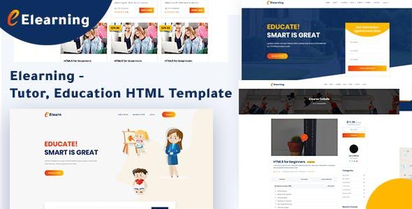 Elearning - Tutor, Education HTML Template