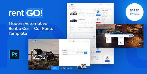 rentGO! Modern Rent a Car - Car Rental PSD Template - Photoshop UI Templates