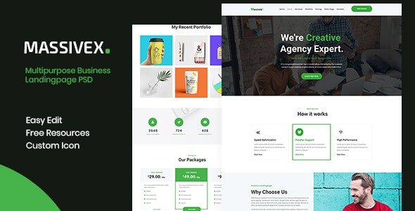Massivex - Multipurpose Business Landing Page PSD - Business Corporate
