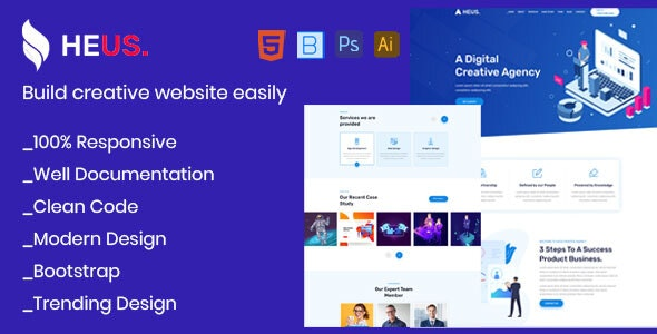 Heus - One Page Creative Agency & Digital Marketing Html Template - Creative Site Templates