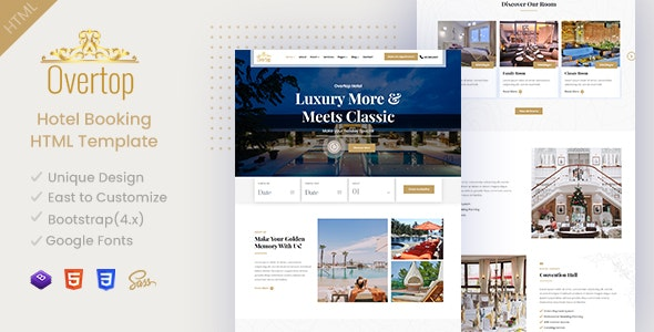 Overtop - Hotel & Accommodation Booking HTML Template - Travel Retail