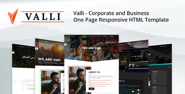 Valli - Corporate and Business One Page Responsive HTML Template - Business Corporate