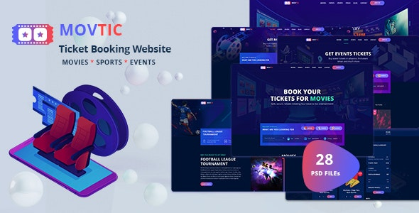 Movtic - Online Ticket Booking Website PSD Template - Entertainment PSD Templates