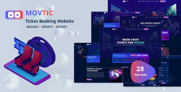 Movtic - Online Ticket Booking Website PSD Template