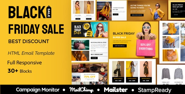 Black - Friday sale - Multipurpose Responsive Email Template 30+ Modules - Mailster & Mailchimp - Newsletters Email Templates