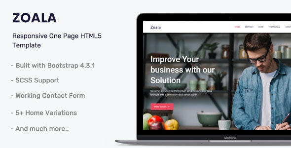 Zoala - One Page HTML5 Template - Corporate Site Templates