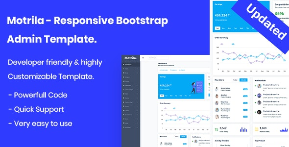 Motrila - Responsive Bootstrap Admin Template - Admin Templates Site Templates