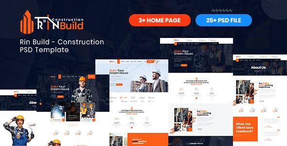 Rin Build - Construction PSD Template - Corporate PSD Templates
