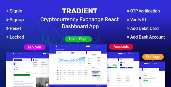 Tradient - Cryptocurrency Exchange React Dashboard App - Admin Templates Site Templates