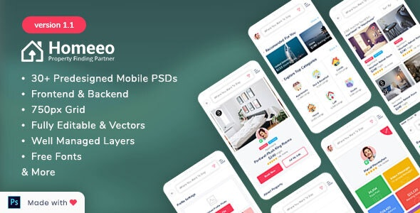 Homeeo - Booking and Rental Mobile PSD - Corporate Photoshop