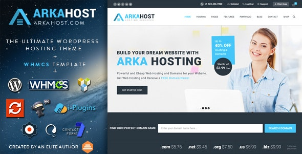 ArkaHost - WHMCS WordPress Theme - Hosting Technology