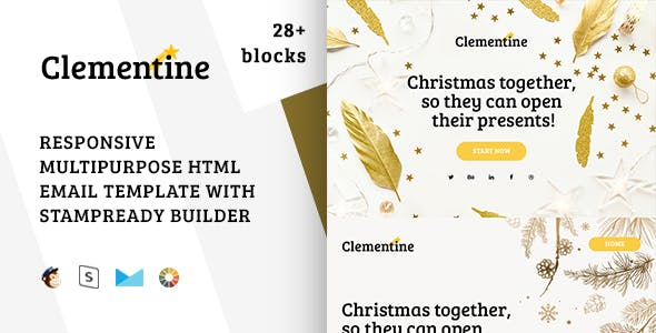 Clementine – Christmas Email + StampReady, MailChimp & CampaignMonitor compatible files