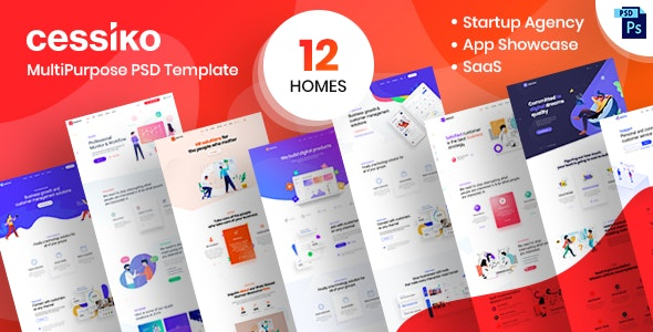 Cessiko Multipurpose Startup Agency PSD Template - Software Technology