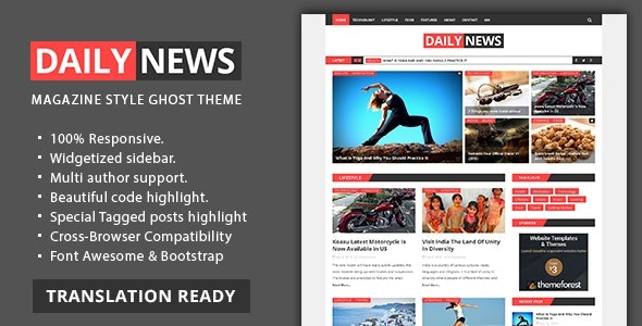 Daily News - Magazine and Blog Ghost Theme - Ghost Themes Blogging