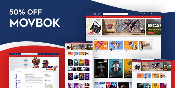 Movbok - Movies, Events, Sports Website HTML Template by askbootstrap