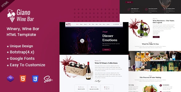 Giano - Winery & Wine Bar HTML Template - Retail Site Templates