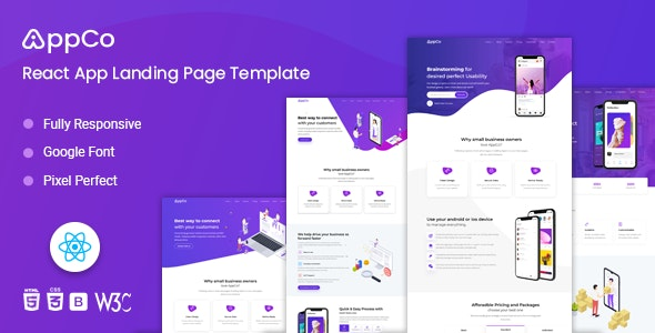 AppCo - React App Landing page Template - Technology Site Templates