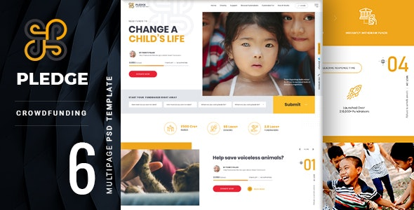 Pledge | A Multipage Crowdfunding PSD Template - Nonprofit Photoshop