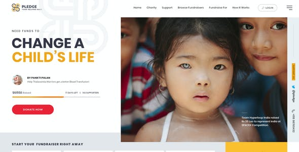 Pledge | A Multipage Crowdfunding PSD Template