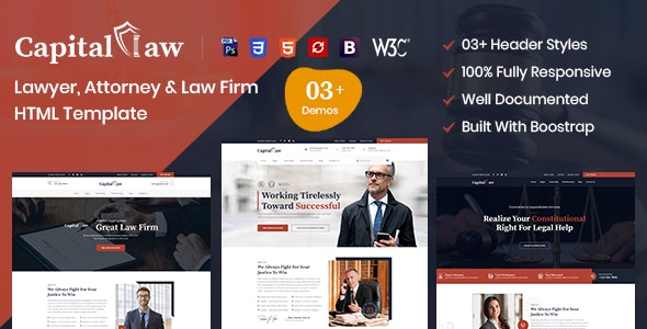 CapitalLaw – Lawyers Attorneys and Law Firm HTML Template - Business Corporate