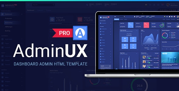 AdminuxPRO Dashboard HTML Bootstrap 4, Angular 8 and React Starterkit by Maxartkiller