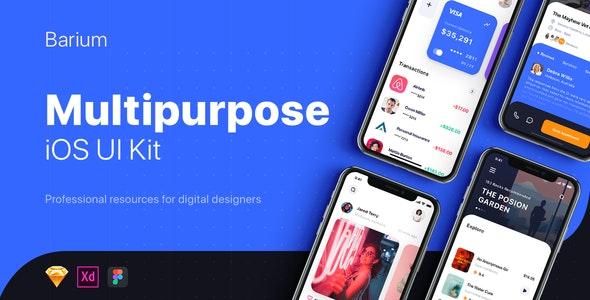 BARIUM - Multipurpose Card-based UI Kit - Sketch Templates