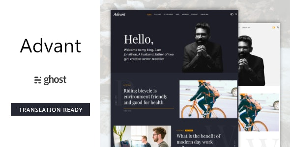 Advant - Modern Ghost Theme for Personal or Professional Blog - Ghost Themes Blogging