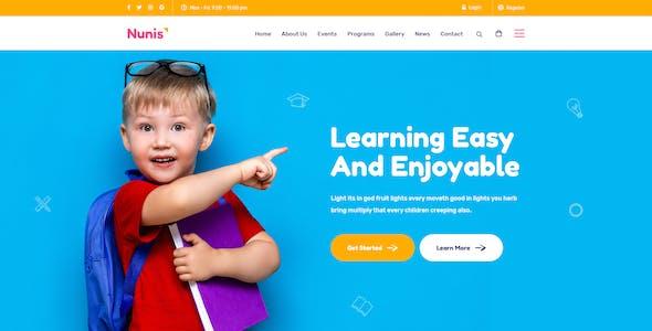 Nunis - Modern Kids PSD Template