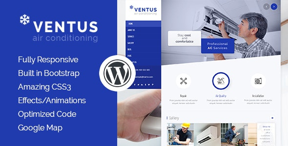 Ventus - Air Conditioning & Heating WordPress Theme - Business Corporate