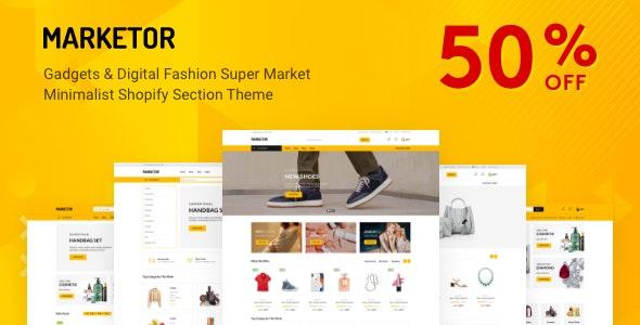 Marketor - Multipurpose Responsive Shopify Theme - Technology Shopify