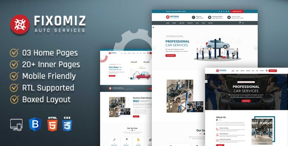 Fixomiz | Car Repair HTML Template + RTL - Business Corporate