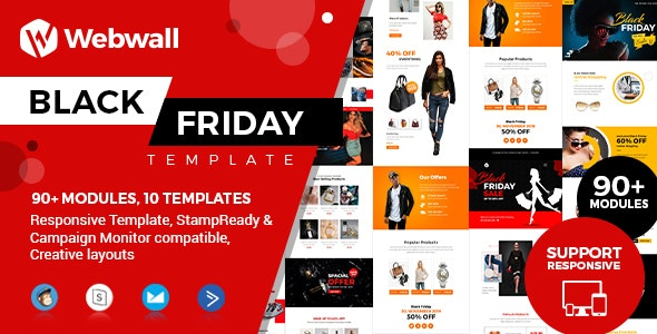 Webwall - Black Friday Template + StampReady & CampaignMonitor compatible files - Newsletters Email Templates