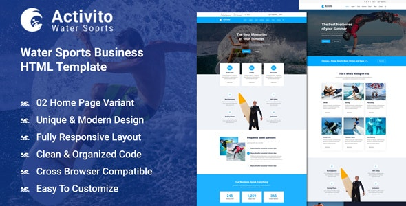 Activito - Water Sports Business HTML Template - Business Corporate