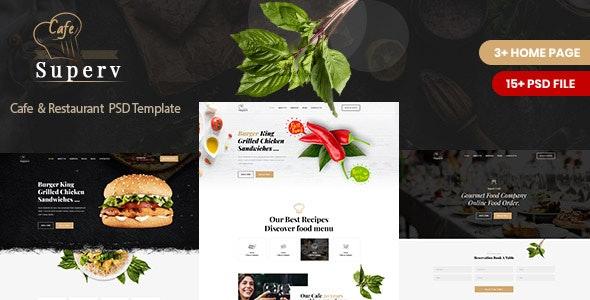 Superv Cafe - Restaurant PSD Template - Restaurants & Cafes Entertainment