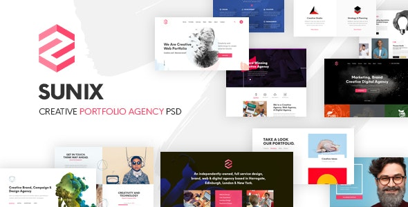 Sunix - Creative Startup Digital Agency, Portfoilio PSD Template - Creative Photoshop