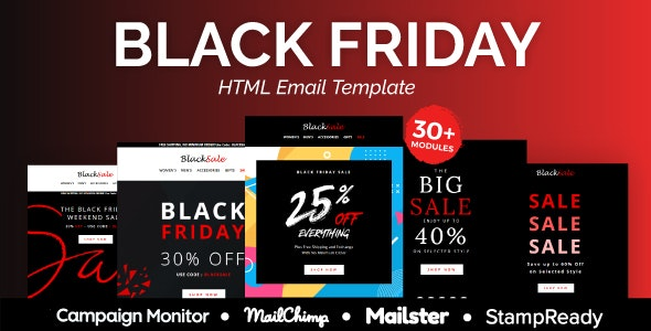 Black sale - Multipurpose Responsive Email Template 30+ Modules - Mailster & Mailchimp - Newsletters Email Templates