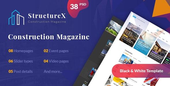 StructureX - Minimal Construction Magazine PSD Template - Business Corporate