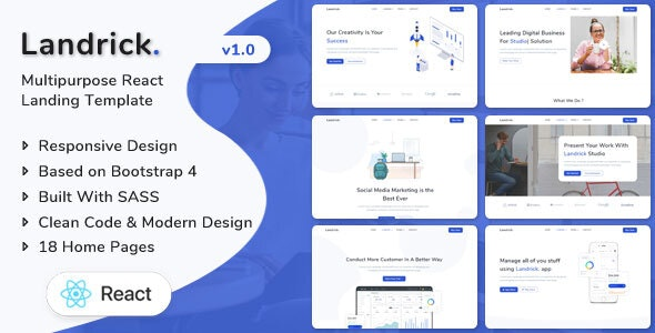 Landrick - React Landing Page Template - Technology Site Templates