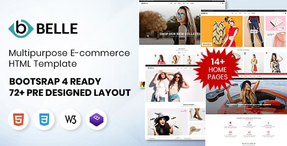 Belle Multipurpose Bootstrap 4 HTML Template - Retail Site Templates