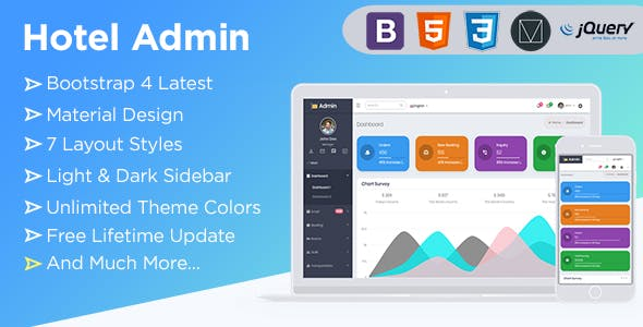 Spice Hotel   Bootstrap 4  Admin Dashboard Template With Material Components + UI Kit