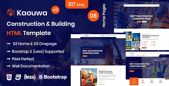 Kaouwa - Construction & Building HTML Template - Business Corporate