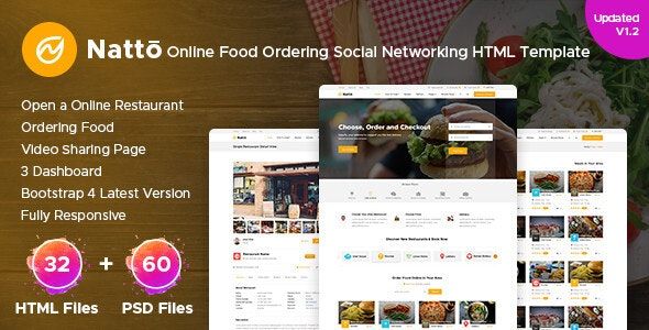 Natto - Online Food Ordering Social Networking Html Template - Food Retail