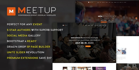 MeetUp v2.0.0 – Conference Event Joomla Template