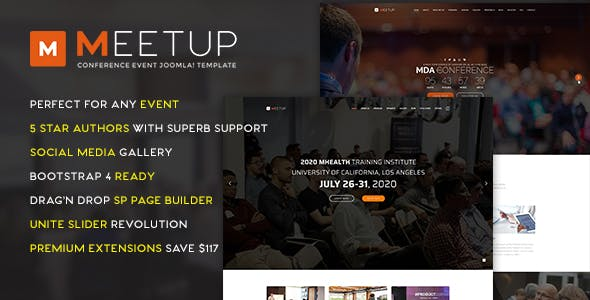 MeetUp Conference Event Joomla Template