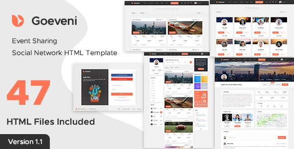 Goeveni - Event Sharing Social Network Html Template - Events Entertainment